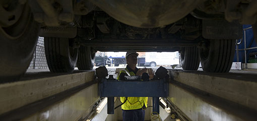 Vehicle tester under lorry
