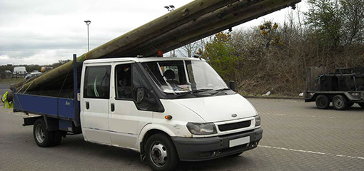 Van with an insecure load