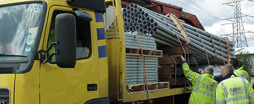 VOSA inspection of a shifted load on a lorry