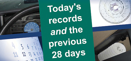 Poster reminding drivers to carry 28 days of records