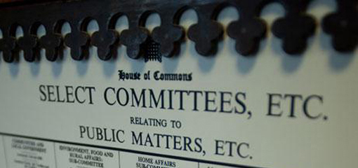 Select Committee list at Westminster