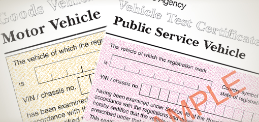 Sample commercial vehicle test certificates