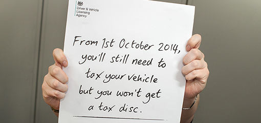 Poster describing how you won't get a disc after taxing your vehicle
