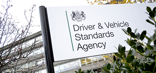 Driver and Vehicle Standards Agency sign out office building