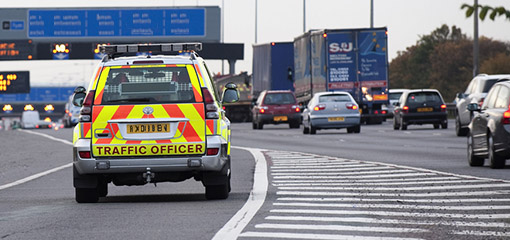 Highways Agency vehicle on the motorway