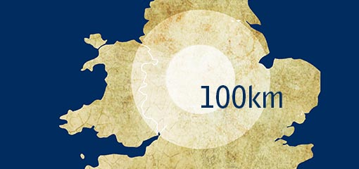 UK map showing 100 km radius
