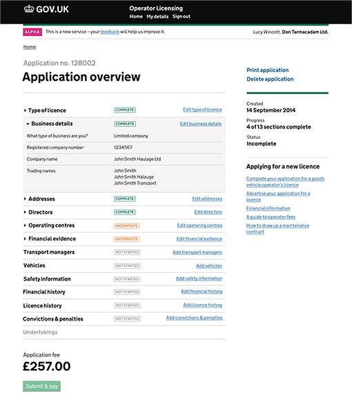 Operator licensing application page on gov.uk website