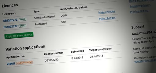 Computer screen showing vehicle licence details