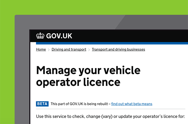 Manage your vehicle operator licence page on GOV.UK