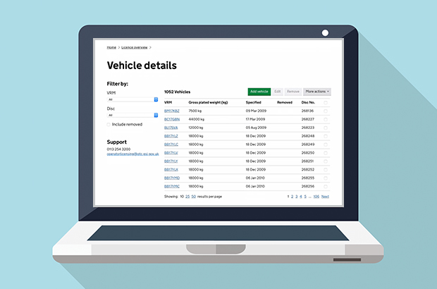 A laptop showing vehicle details on the vehicle operator licensing service. Including option to filter by VRM and disc. Shows support number: 0113 245 3300. Displays a list of vehicles including gross plated weight in kilograms, date specified and disc number.