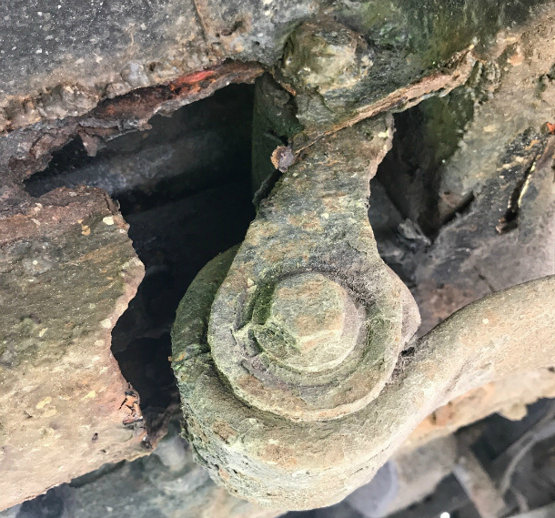 Badly corroded components on a vehicle.