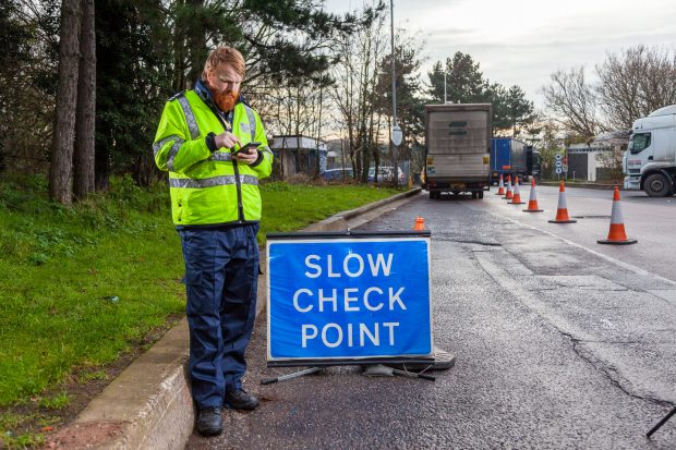 DVSA check point with enforcement officer
