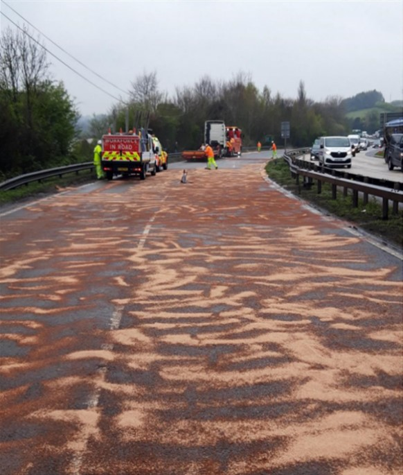 Lorry spill on the road