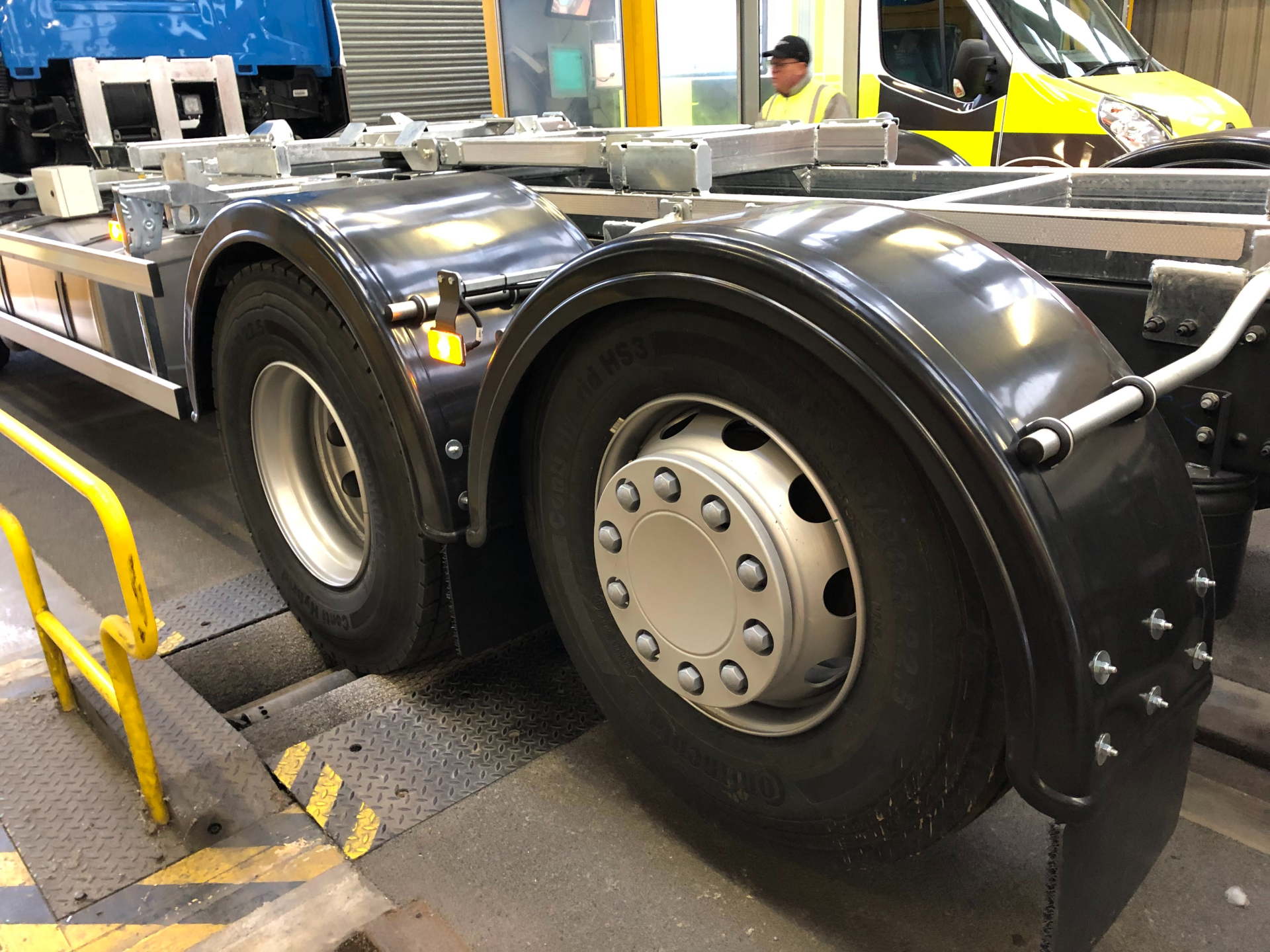 Lorry wheels being examined in ATF