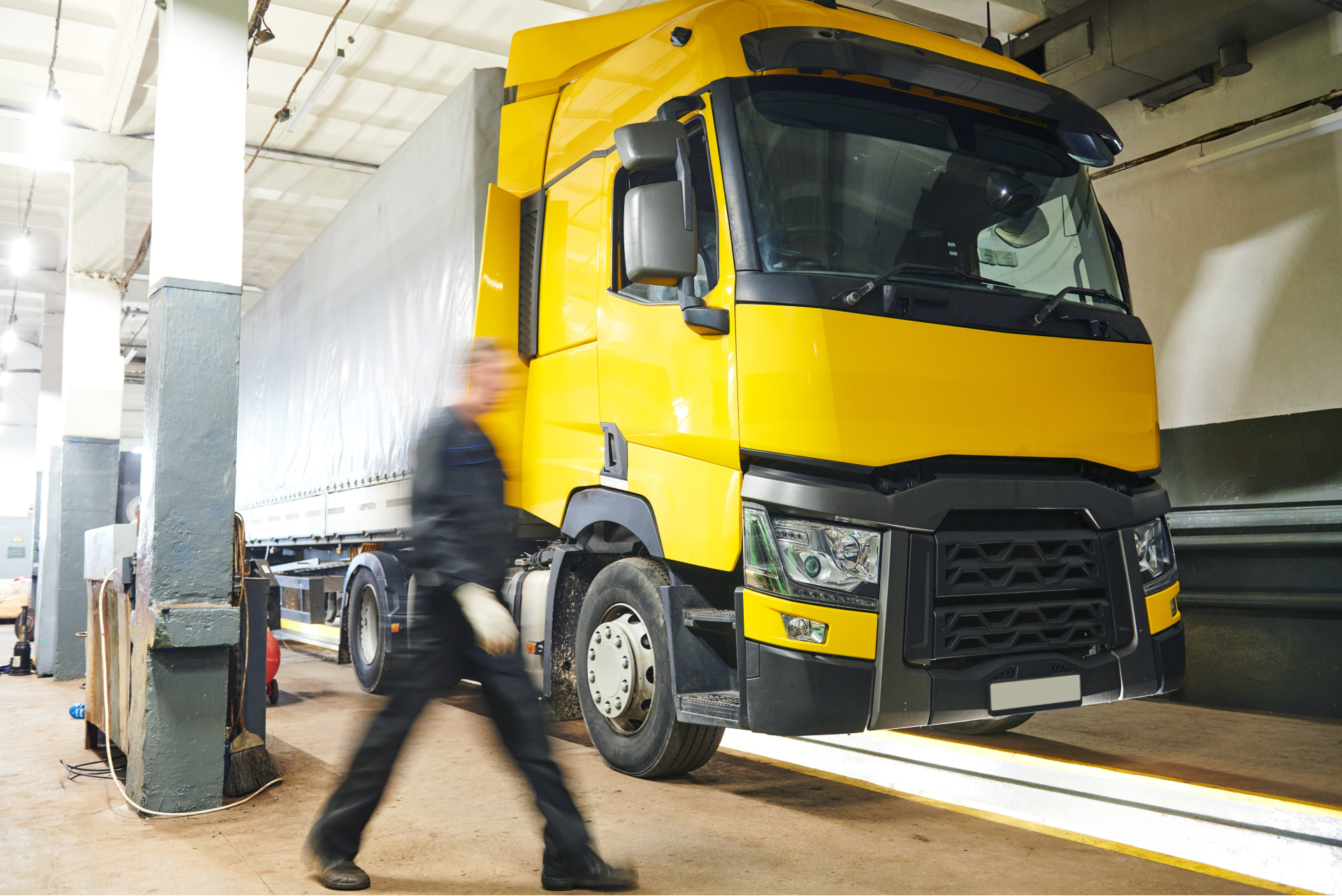 Lorry in test centre